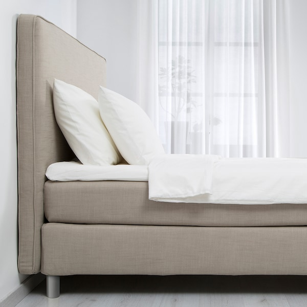 DUNVIK divan bed Hokkåsen firm/medium firm/Tustna dark beige 210 cm 180 cm 120 cm 200 cm 180 cm