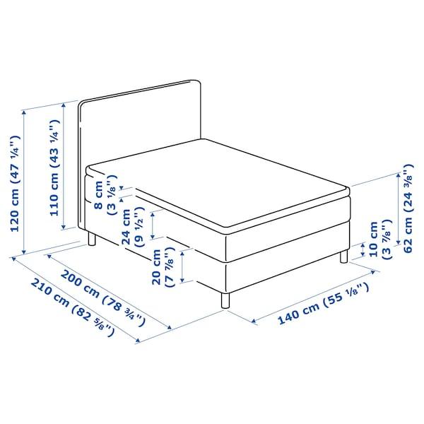 DUNVIK Divan bed, Hövåg medium firm/Tussöy Gunnared blue, 140x200 cm