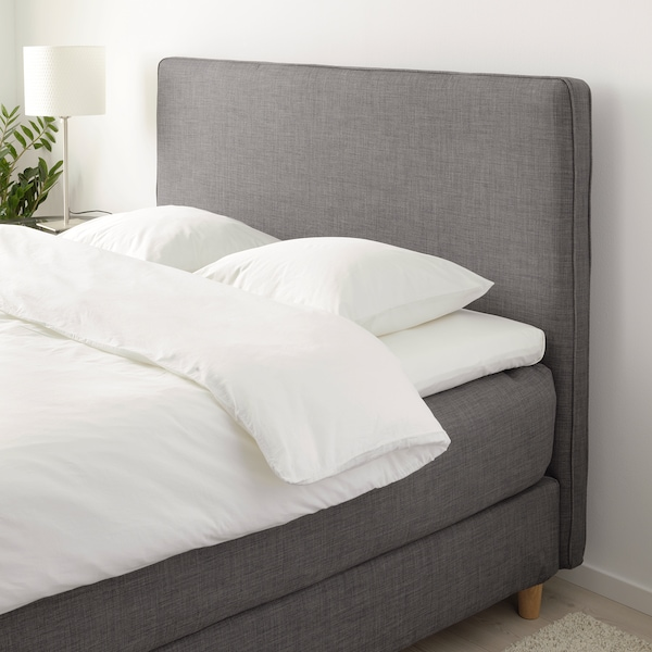 DUNVIK Divan bed, Hyllestad firm/Tustna dark grey, 180x200 cm