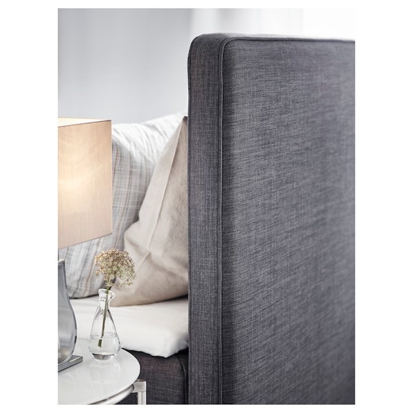 DUNVIK Divan bed, Hyllestad medium firm/Tussöy dark grey, 160x200 cm