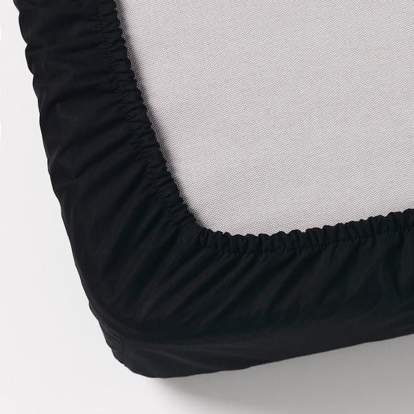 DVALA Fitted sheet, black, 180x200 cm