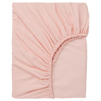 DVALA fitted sheet light pink 152 /inch² 200 cm 90 cm