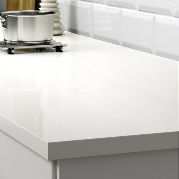 EKBACKEN Custom made worktop, white high-gloss/laminate, 63.6-125x2.8 cm