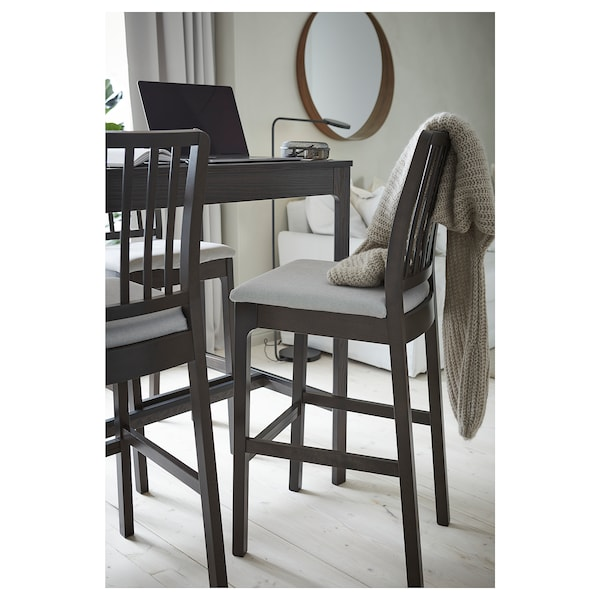 EKEDALEN bar stool with backrest dark brown/Orrsta light grey 110 kg 45 cm 52 cm 114 cm 45 cm 39 cm 75 cm