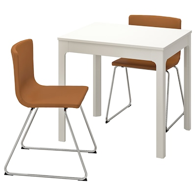 EKEDALEN / BERNHARD Table and 2 chairs, white/Mjuk golden-brown, 80/120 cm