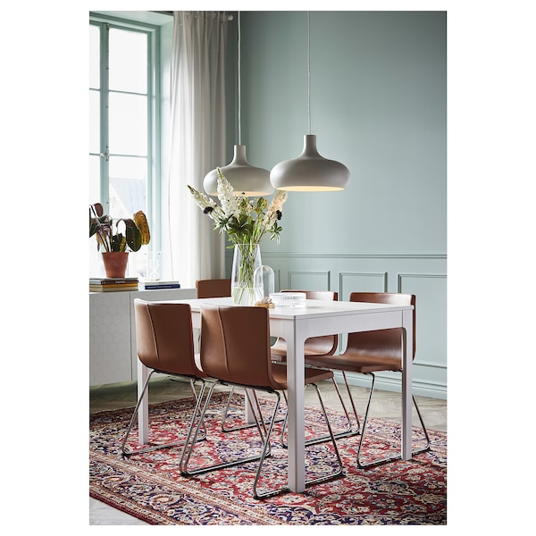EKEDALEN / BERNHARD Table and 4 chairs, white/Mjuk golden-brown, 120/180 cm