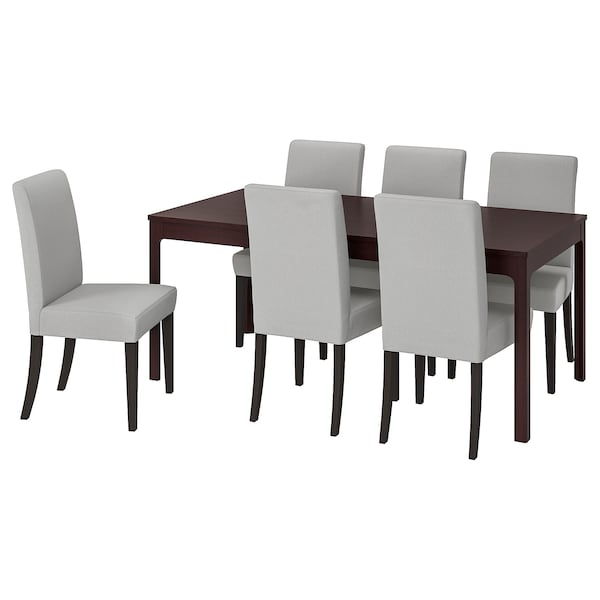 EKEDALEN / HENRIKSDAL Table and 6 chairs, dark brown/Orrsta light grey, 180/240 cm