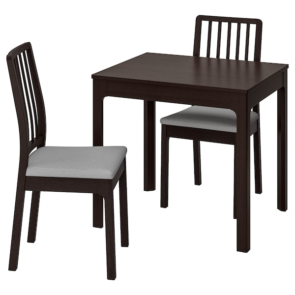 EKEDALEN Table and 2 chairs, dark brown/Orrsta light grey, 80/120 cm