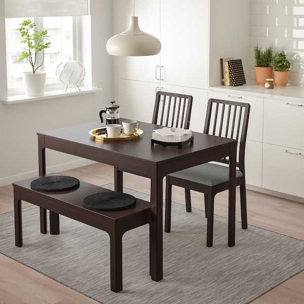 EKEDALEN / EKEDALEN Table with 2 chairs and bench, dark brown/Orrsta light grey, 120/180 cm