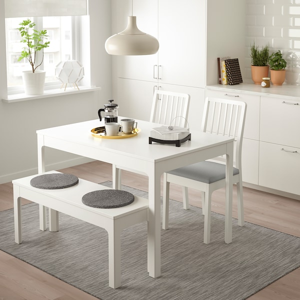 EKEDALEN / EKEDALEN Table with 2 chairs and bench, white/Orrsta light grey, 120/180 cm