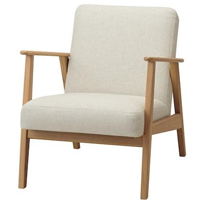 EKENÄSET Armchair, oak/Gunnared beige