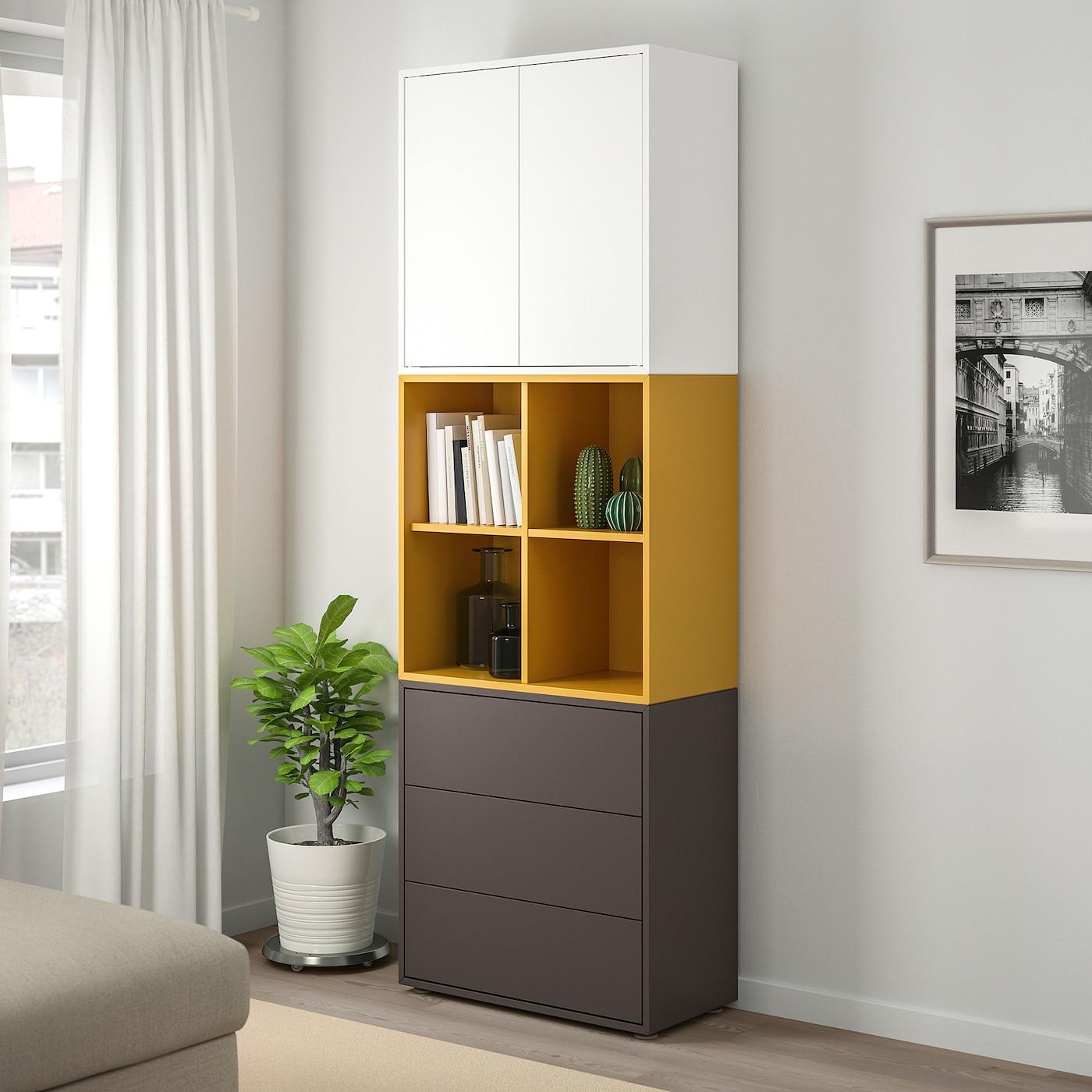 EKET Cabinet combination with feet, white/golden-brown dark grey, 70x35x212 cm