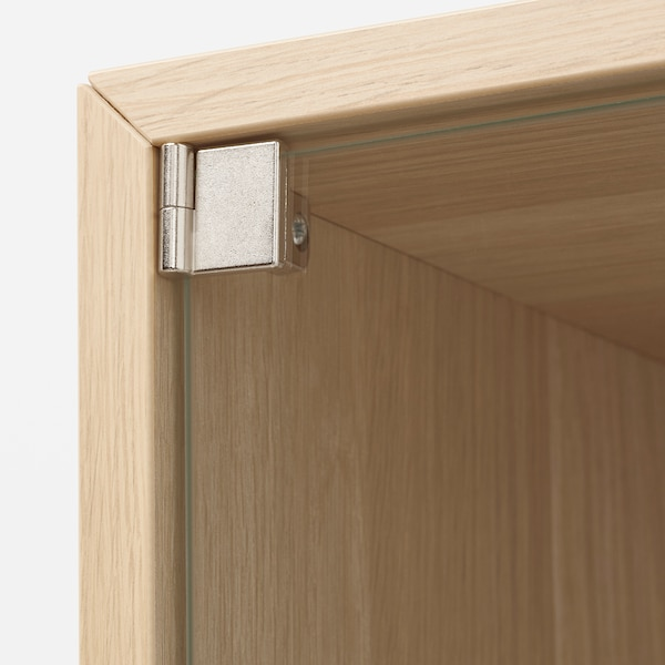 EKET Wall cabinet with glass door, white stained oak effect, 35x35x35 cm