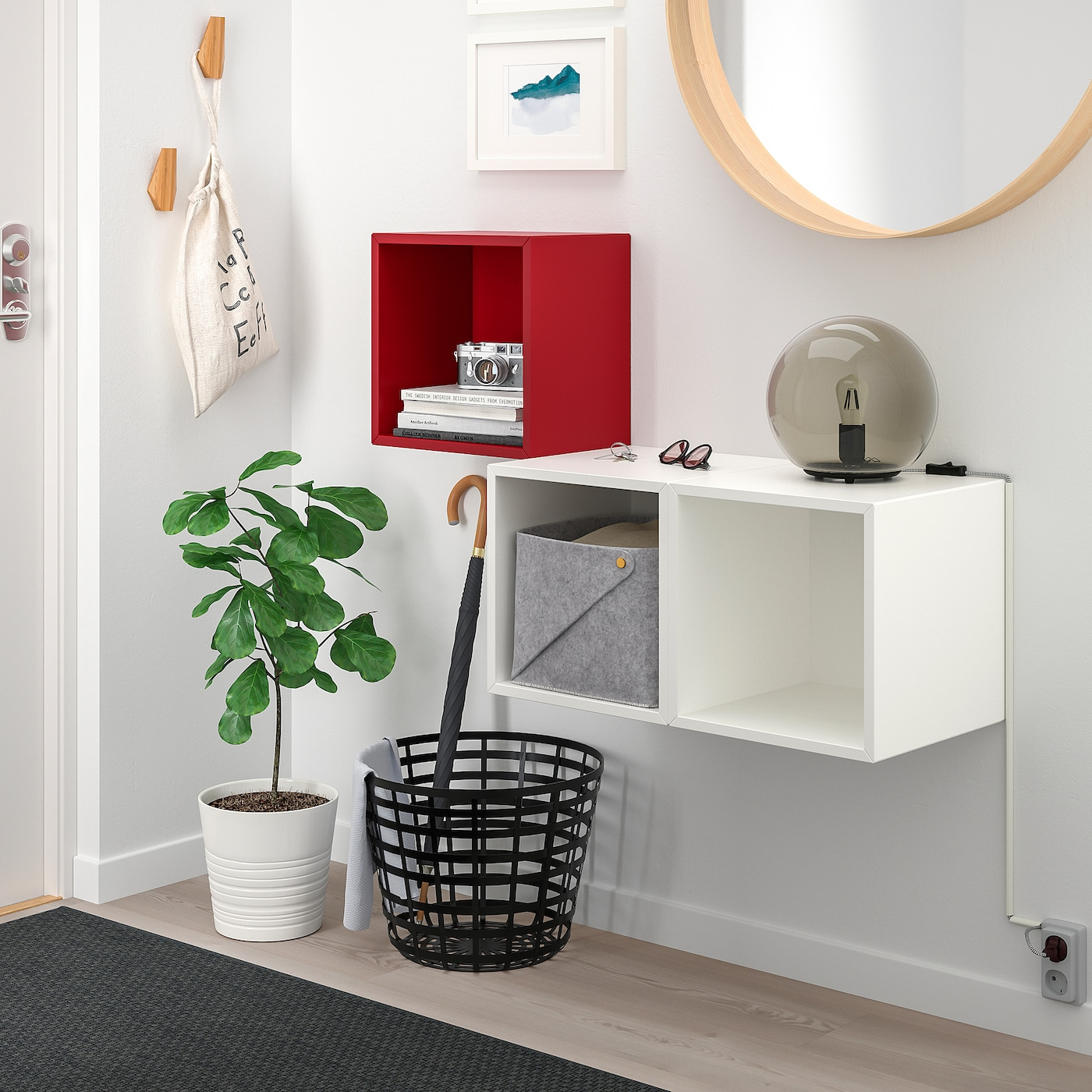 EKET Wall-mounted cabinet combination, red/white, 105x35x70 cm
