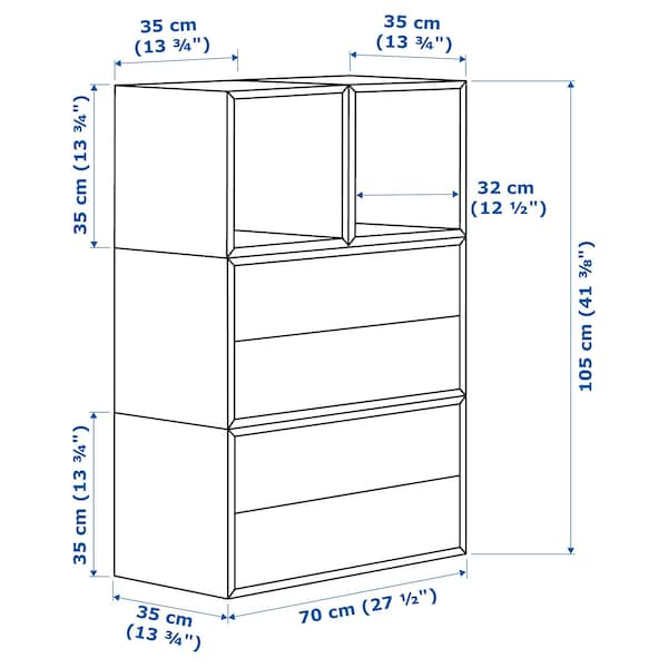 EKET Wall-mounted cabinet combination, white, 70x35x105 cm