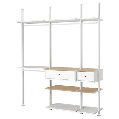 ELVARLI Wardrobe combination, white/bamboo, 218x51x222-350 cm