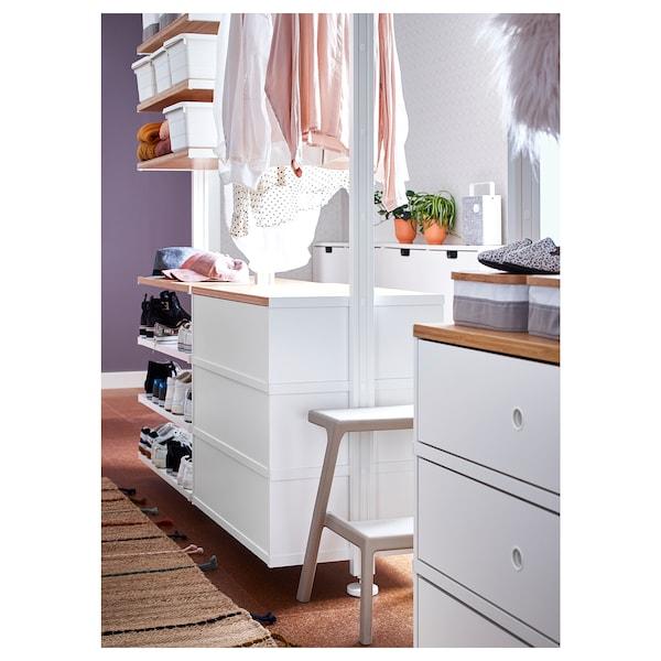 ELVARLI Wardrobe combination, white/bamboo, 385x51x222-350 cm