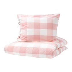 EMMIE RUTA quilt cover and pillowcase, light pink, white