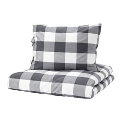 EMMIE RUTA quilt cover and 2 pillowcases, dark grey, white