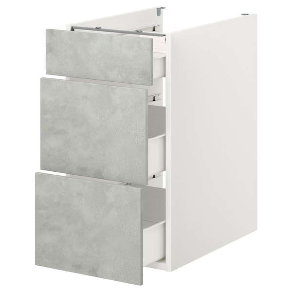 ENHET Base cb w 3 drawers, white/concrete effect, 40x60x75 cm