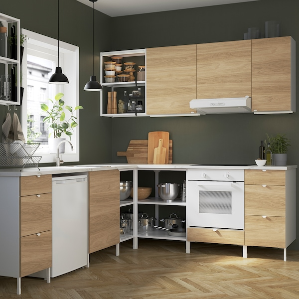 ENHET Corner kitchen, white/oak effect