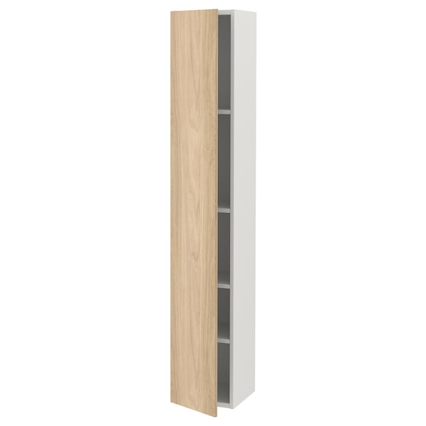ENHET Hi cb w 4 shlvs/door, white/oak effect, 30x30x180 cm