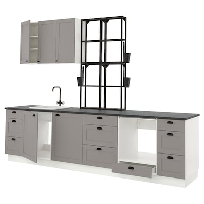 ENHET Kitchen, anthracite/grey frame, 323x63.5x241 cm