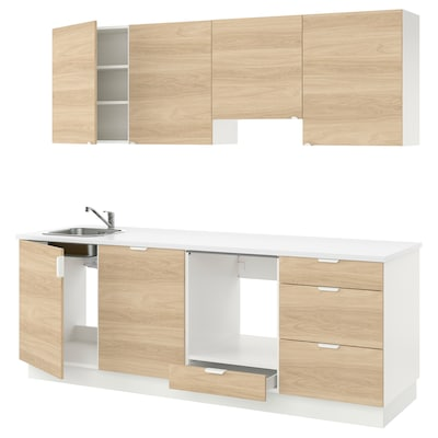 ENHET Kitchen, oak effect, 243x63.5x222 cm