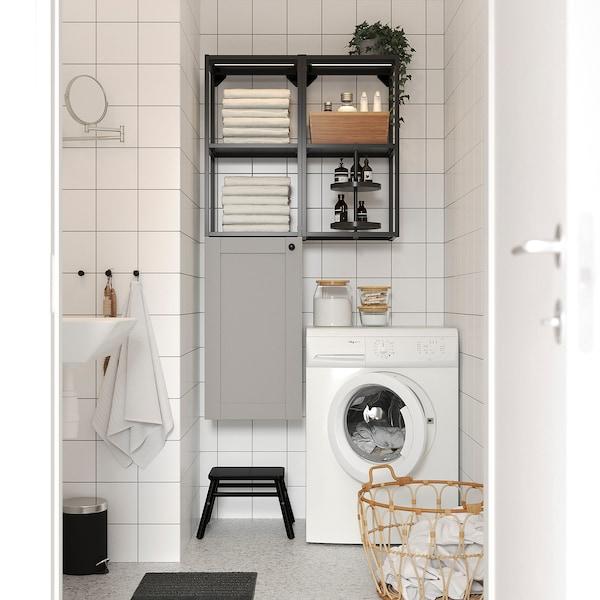 ENHET Wall storage combination, anthracite/grey frame, 80x32x150 cm