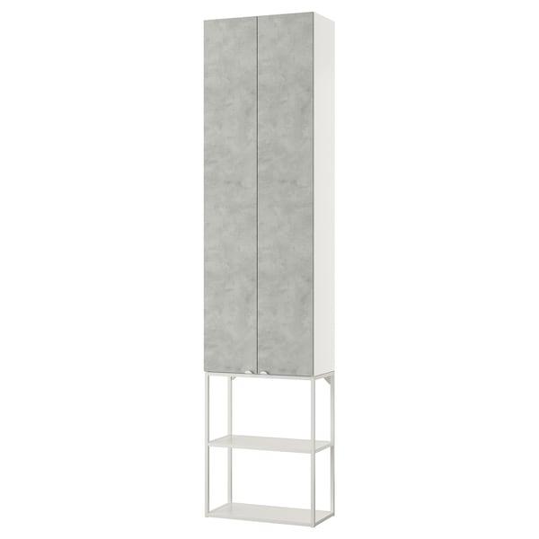 ENHET Wall storage combination, white/concrete effect, 60x30x255 cm