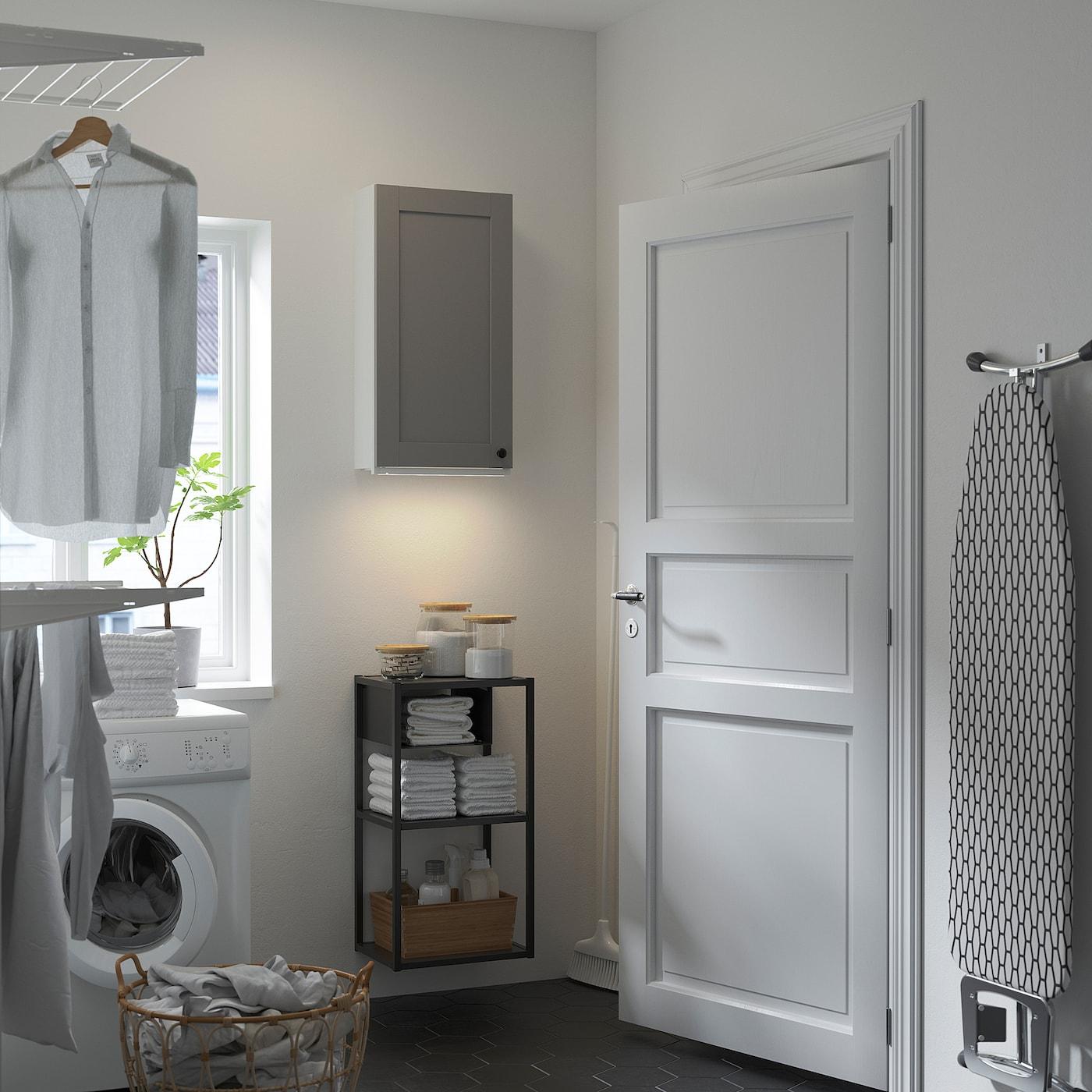 ENHET Wall storage combination, white/grey frame, 40x30x150 cm