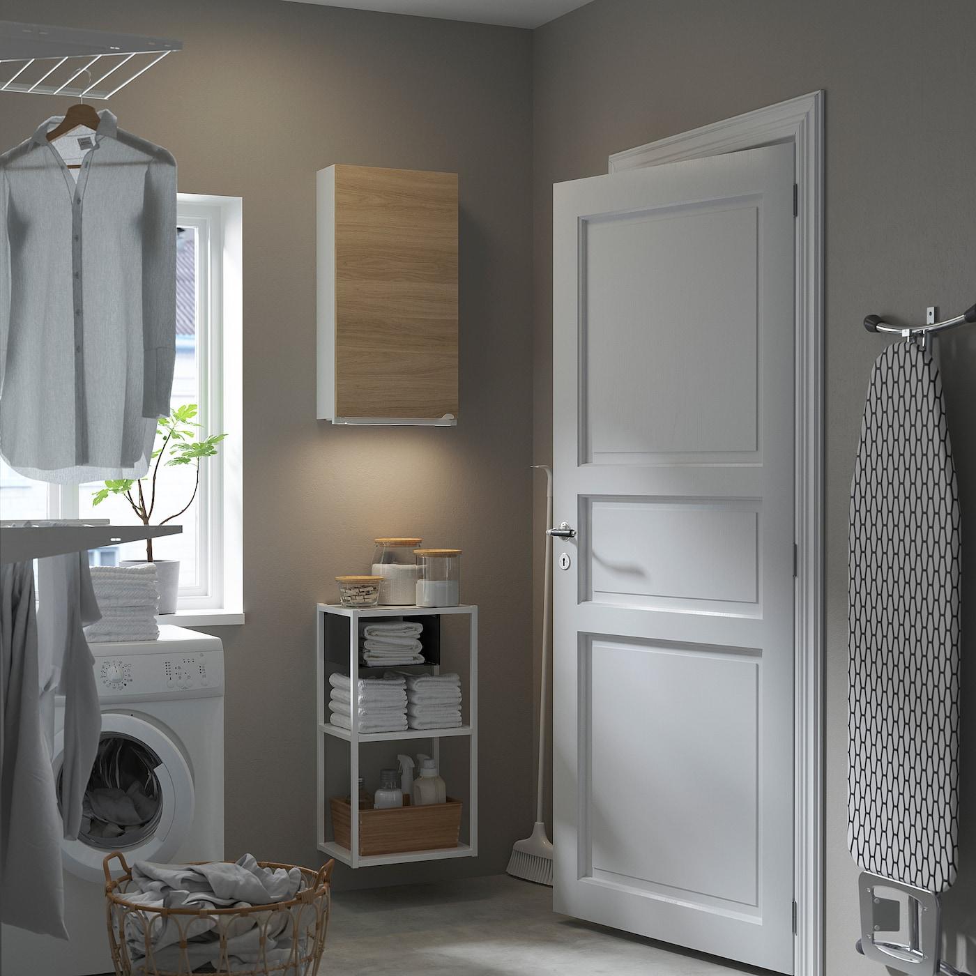 ENHET Wall storage combination, white/oak effect, 40x30x150 cm