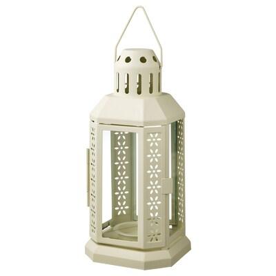 ENRUM Lantern for tealight, in/outdoor, beige, 22 cm