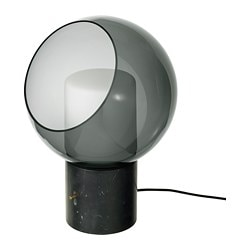 EVEDAL table lamp, grey marble, globe grey globe