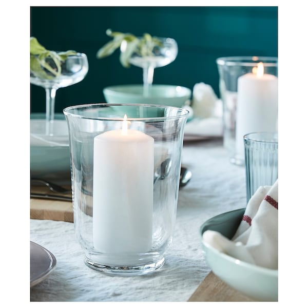 FENOMEN Unscented block candle, white, 15 cm