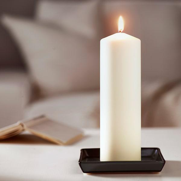 FENOMEN Unscented block candle, white, 25 cm