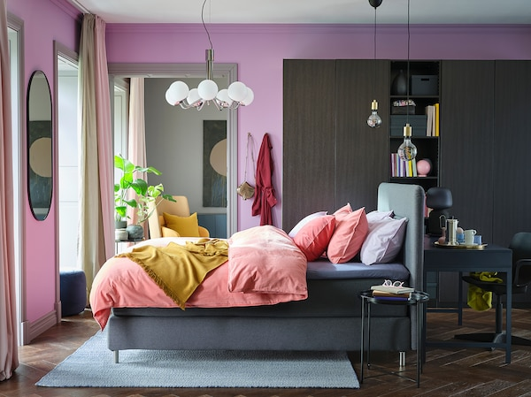 FINNSNES Divan bed, Hövåg firm/Tussöy grey, 160x200 cm