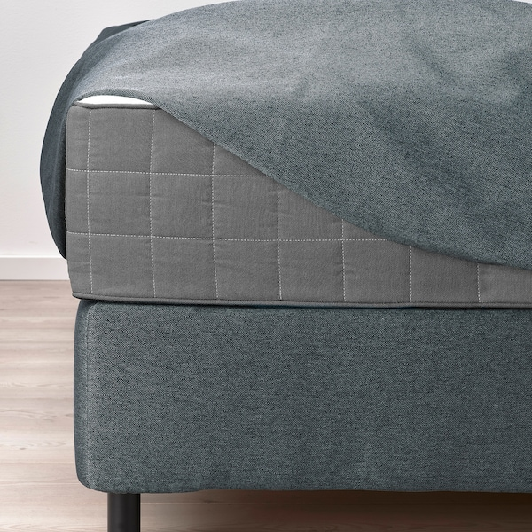 FINNSNES Divan bed, Hövåg medium firm/Tustna grey, 180x200 cm