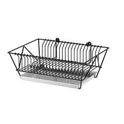 FINTORP dish drainer, black, galvanised