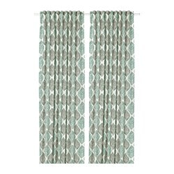 FJÄDERKLINT curtains, 1 pair, white/green