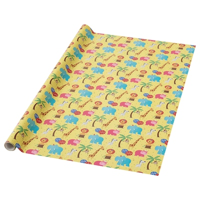 FJÖLIG gift wrap roll yellow 3.0 m 0.7 m 3.50 m² 1 pack 3 m