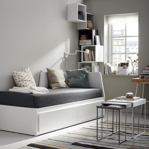 FLEKKE Day-bed frame with 2 drawers   The backrest mounts on the right or the left side of the day-bed.
