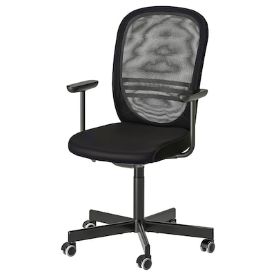 FLINTAN Office chair with armrests, black