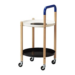 FÖRNYAD side table on castors, beech, black