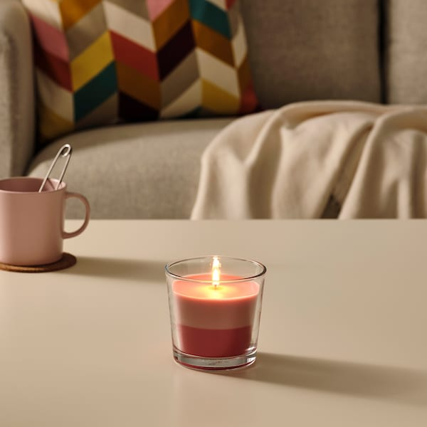 FORTGÅ Scented candle in glass, Fresh strawberries/pink-red, 9 cm