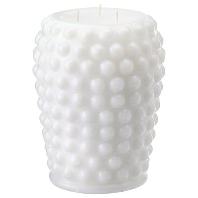 FRAMBRINGA Unscented block candle, 3 wicks, white, 19 cm