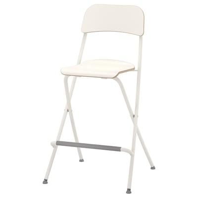 FRANKLIN Bar stool with backrest, foldable, white/white, 63 cm