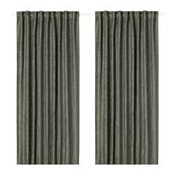 FRITSE curtains, 1 pair, green