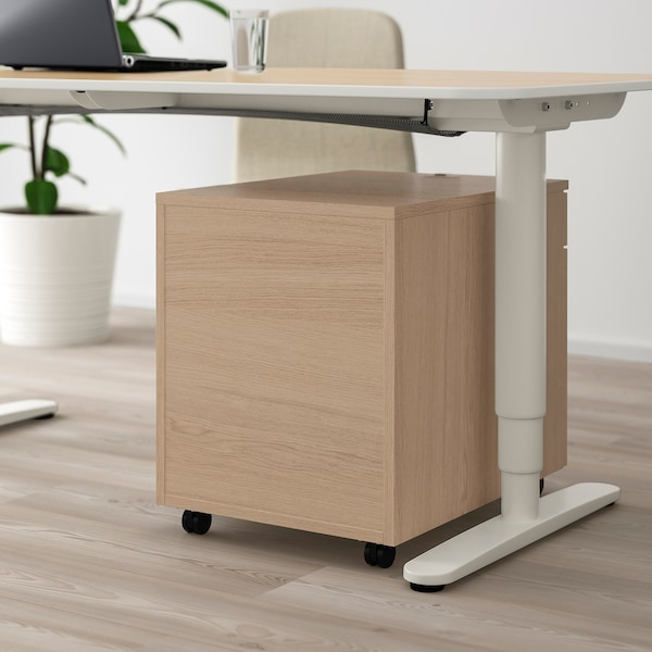 GALANT Drawer unit with drop-file storage, white stained oak veneer, 45x55 cm