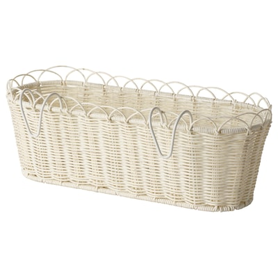 GALIAMELON Flower box with holder, in/outdoor white, 51x18 cm